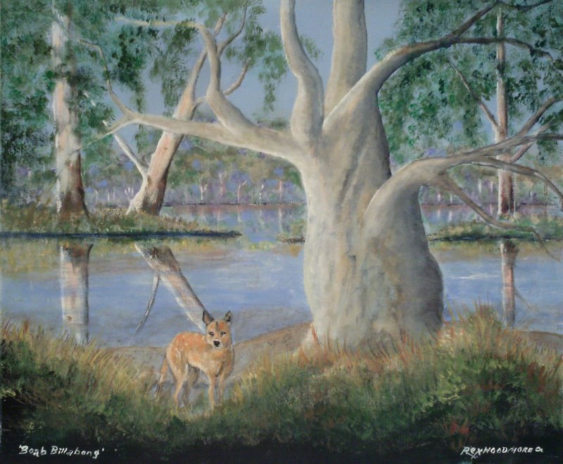 Dingo & Boab trees  Rex Woodmore http://art-sale.weebly.com